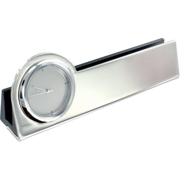 Struttura III Clock and Business Card Holder
