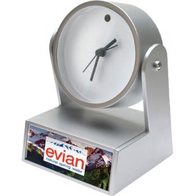 Logo Swivel Clock With Weighted Base