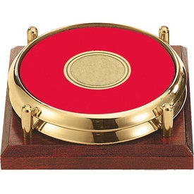 Branded Personalized Two Coasters with Solid Cherry Tray
