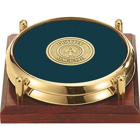 Personalized Two Coasters with Solid Cherry Tray with Your Logo