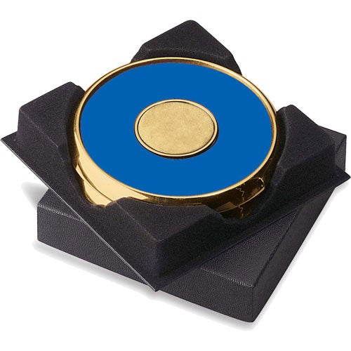 Royal / Gold Two Coasters in Deluxe Black Flocked Gift Box