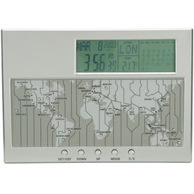 Vaghi Digital World Time Clock Calendar and Thermometer with Your Logo