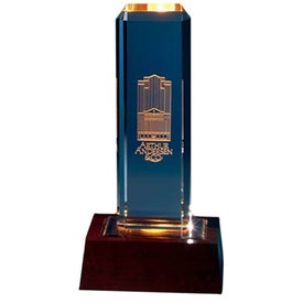 Personalized Vertical Highlight Award with Lighted Base