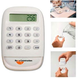 White Water Powered Calculator Imprinted with Your Logo