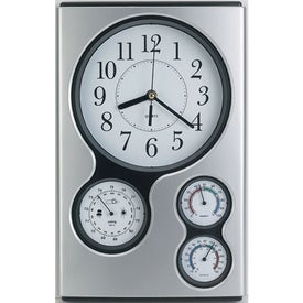Monogrammed Weather Station Wall Clock