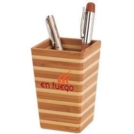 Zen Bamboo Stripe Pen Holder