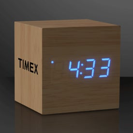 Blue LED Cube Alarm Clock with USB
