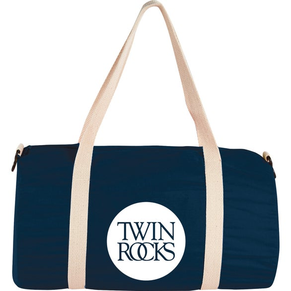 Navy Blue Cotton Barrel Duffel Bag