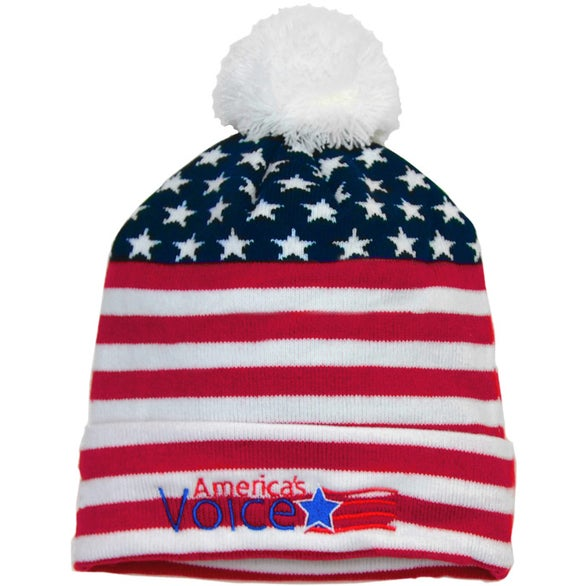 Red / White / Blue Stars and Stripes Knit Beanie with Pom Pom