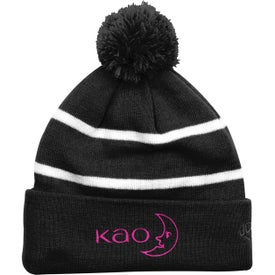 Thin Striped Knit Beanies with Pom Pom