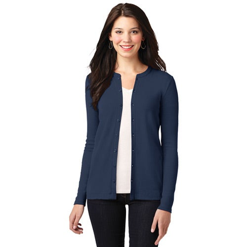 Navy Blue Port Authority Concept Stretch Button-Front Cardigan