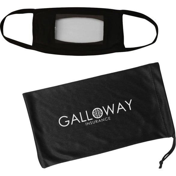 Black Anti-Fog Window Mask and Antimicrobial Pouch