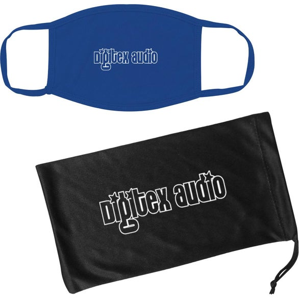 Royal Blue / Black Cotton Reusable Mask and Mask Pouch with Antimicrobial Additive