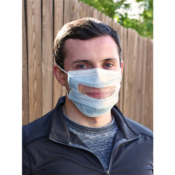Blue / White Disposable Face Mask with Anti Fog Window