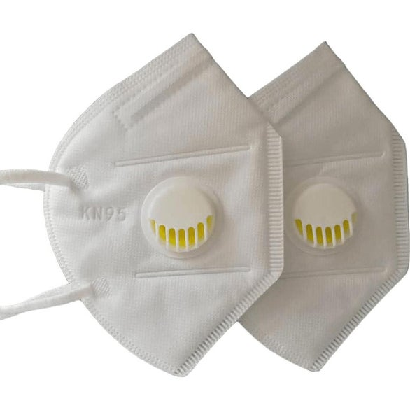 White KN95 Mask with Breathing Valve