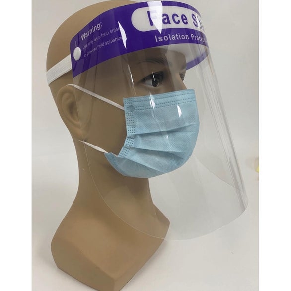 Clear / Blue Protective Face Shield with Head Band
