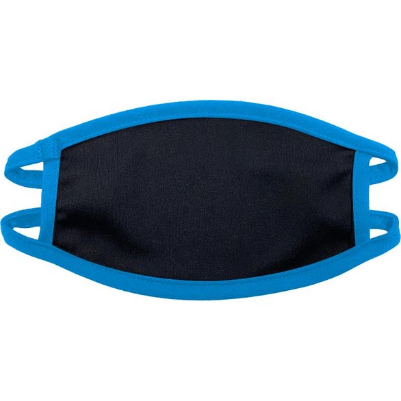 Process Blue / Black Youth 50/50 Polyester and Cotton Face Mask