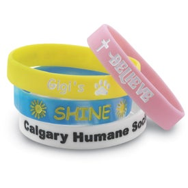 "Color Filled Silicone Wristband (Unisex, 0.5"" x 8"")"