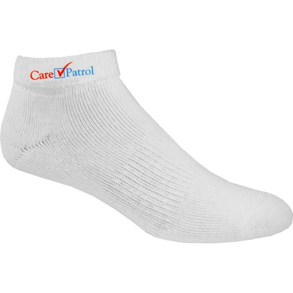 White Moisture Wicking Roll Top Cotton Blend Athletic Socks