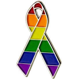 Rainbow Awareness Ribbon Lapel Pin