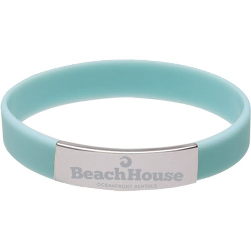 Blue Glow Silicone Bracelet with Metal Accent