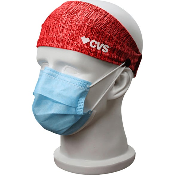 Full Color Imprint Sublimated Headband with Buttons for Mask