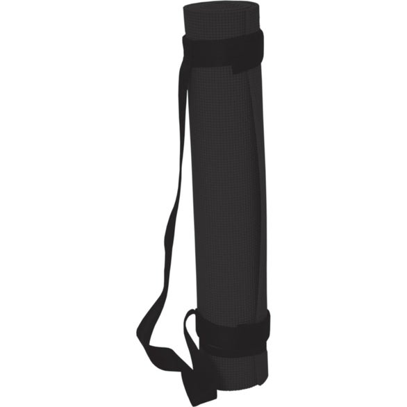 Black Yoga Mat with Carry Strap
