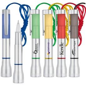 LED Flashlight and Ballpoint Pen Combo for Advertising