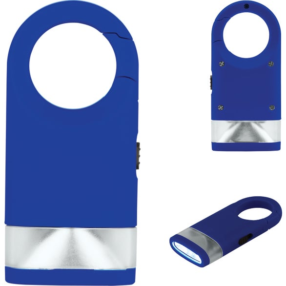 Blue Plastic Carabiner Flashlight