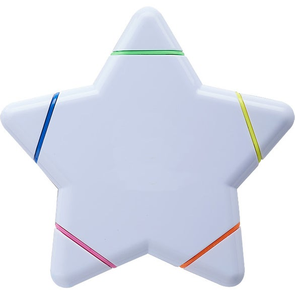 White Star Shaped 5 Color Highlighter