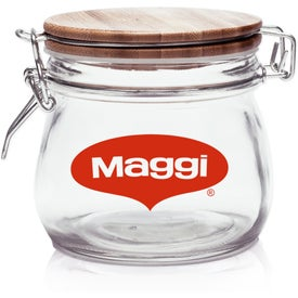 Glass Candy Jar with Wire Wooden Lid (16 Oz.)