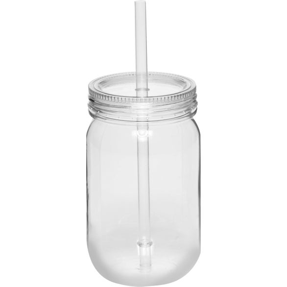 Blue Plastic Mason Jar with Straw