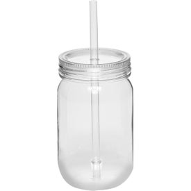 Plastic Mason Jar with Straw (24 Oz.)