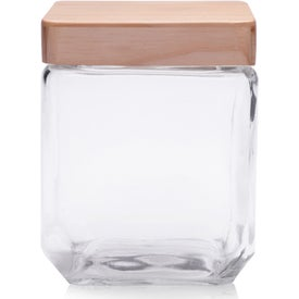 Square Glass Candy Jar with Wooden Lid (41 Oz.)