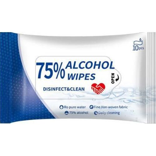 White 75% Alcohol Sanitizer Wipes 10 Count