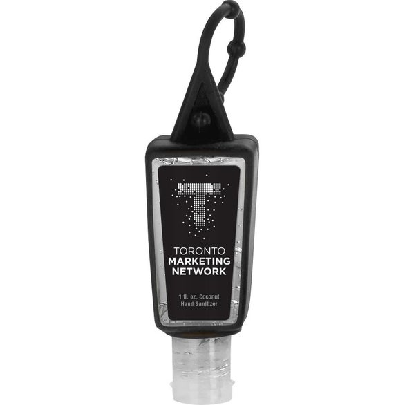 Black Sanitizer in Trapezoid Bottle and Sleeve