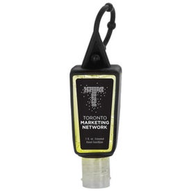 Tinted Sanitizer in Trapezoid Bottle with Sleeve (1 Oz.)