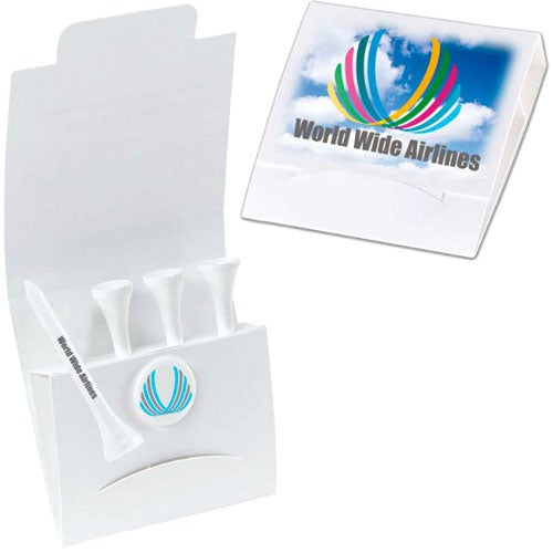 White 4-1 Golf Tee Packet
