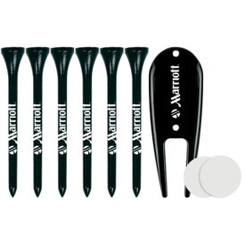 6 Tall Golf Tees with Divot Tool and 2 Ball Markers