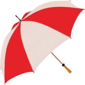 "Logo 62"" Wood Shaft Golf Umbrella"