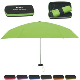"37"" Arc Folding Travel Umbrella with Eva Case"