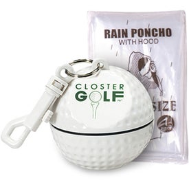 Golf Ball Sportsafe with Clip and Rain Poncho Imprinted with Your Logo