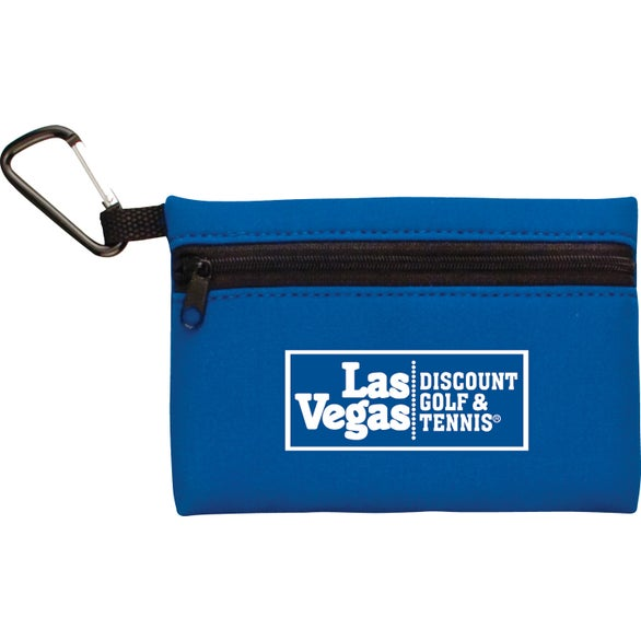 Blue Neoprene Ditty Bag With Carabiner