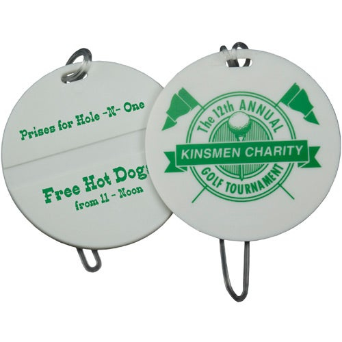 White Round Golf Bag Tag