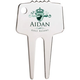 Silver-Tone Divot Repair Tool with Your Logo