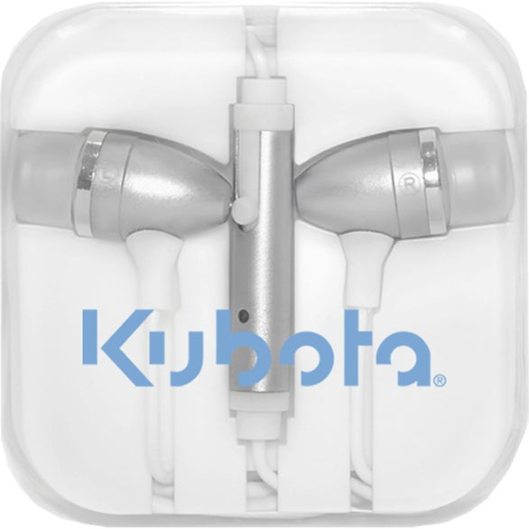 Silver / Clear / White Audia Stereo Earbuds with Microphone