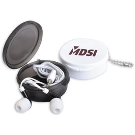 Earbuds in Round Travel Case