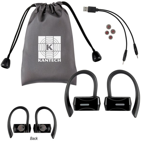 Black Sporty Wireless Earbuds With Pouch