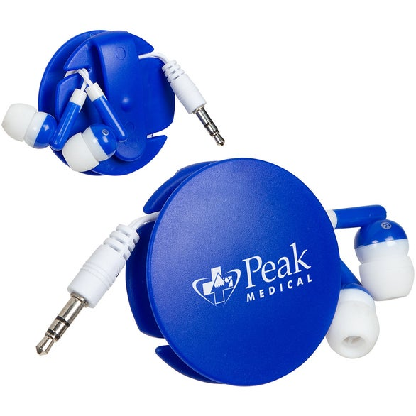 Blue Storage Disc Clip with Earbuds