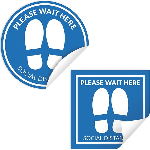 White COVID-19 Social Distancing Floor Sticker